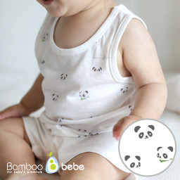 Mild bamboo solsol Panda Sleeveless Set (6 to 24 months)