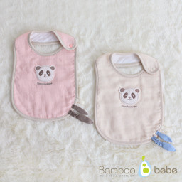 Mild Bamboo Filth Gauze Bib <br> <b>(Cream / Pink option 1)</b>