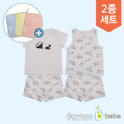 "Mild Bamboo Sols Panda Sleeveless Underwear Set + Short-sleeve Underwear Set (6 to 24 months) <br> <font color=""d2446c""><b>[One design ring towel presented!]</b></font>"