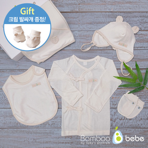 Bamboo summer mothers Baby Gift Set 5 species <br> <font color=#d2446c><b>[Cream presentation]</b></font>