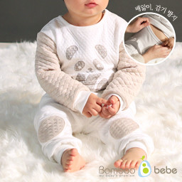 Set of mild bamboo sheaths_to prevent stomachache (6 to 24 months) <br> <b>(Gray / Beige)</b>