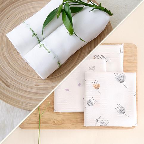 Bambo Handkerchief Set<br> [Original Gauze 10 pieces + Embossed 6 pieces]