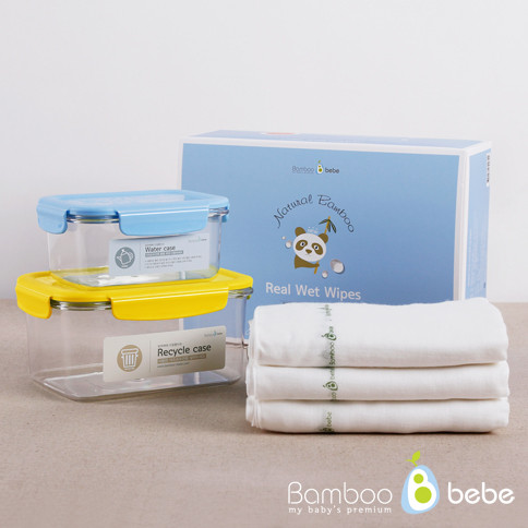 Gentle Bamboo Real Wet Tissue<br> 30 pieces of gauze handkerchief + case 2Piece